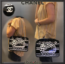 CHANEL ICON Stripes Casual Style Unisex Blended Fabrics 2WAY Bi-color