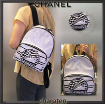 CHANEL ICON Stripes Unisex Blended Fabrics 2WAY Bi-color PVC Clothing
