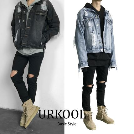 Short Street Style Plain Denim Jackets Jackets