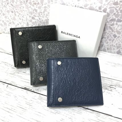BALENCIAGA Folding Wallet Plain Leather Folding Wallets