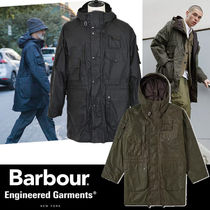 Barbour Blended Fabrics Collaboration Plain Long Khaki Parkas