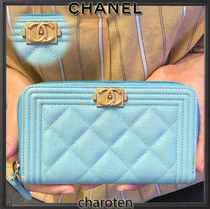 CHANEL ICON Unisex Plain Leather Long Wallets