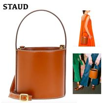STAUD Casual Style Calfskin 2WAY Dark Brown Handbags