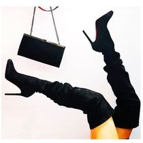 Christian Louboutin Suede Plain Pin Heels Elegant Style Over-the-Knee Boots