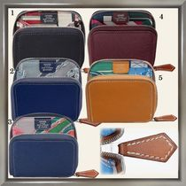 HERMES Silk In Calfskin Blended Fabrics Plain Coin Cases