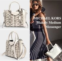Michael Kors BLAKELY 2WAY Leather Python Elegant Style Shoulder Bags