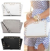 Michael Kors SELMA Saffiano Studded Plain Shoulder Bags