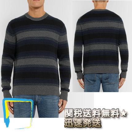 Crew Neck Stripes Cashmere Long Sleeves Knits & Sweaters
