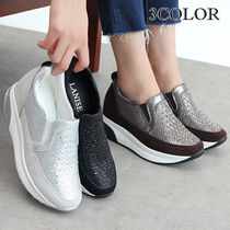 Wedge Round Toe Casual Style Faux Fur Studded Street Style