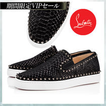 Christian Louboutin PIK BOAT Suede Studded Plain Handmade Python Loafers & Slip-ons