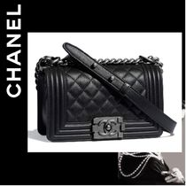 CHANEL BOY CHANEL Calfskin Chain Plain Handbags