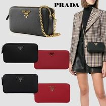 PRADA Saffiano 2WAY Chain Plain Elegant Style Shoulder Bags