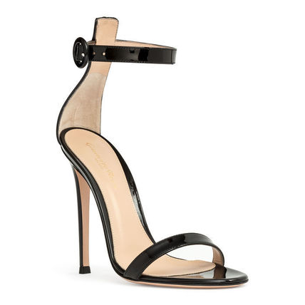 Open Toe Enamel Plain Pin Heels Elegant Style Heeled Sandals