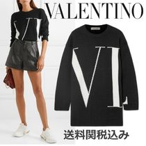 VALENTINO Crew Neck Cashmere Long Sleeves Oversized Elegant Style