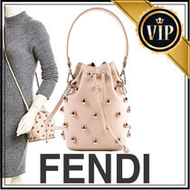 FENDI Dots Suede Studded 2WAY Plain Purses With Jewels