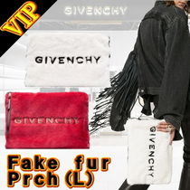 GIVENCHY Faux Fur A4 Bi-color Elegant Style Clutches