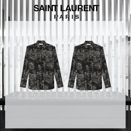 Saint Laurent Shirts Long Sleeves Cotton Shirts