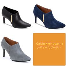 Calvin Klein Plain Leather Pin Heels Elegant Style Ankle & Booties Boots