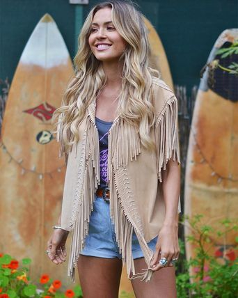 Casual Style Suede Handmade Vest Cardigans