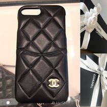 CHANEL MATELASSE Unisex Plain Leather Smart Phone Cases