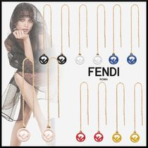 FENDI Initial Chain Elegant Style Earrings