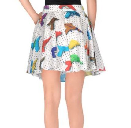 Flared Skirts Tropical Patterns Street Style Cotton Medium