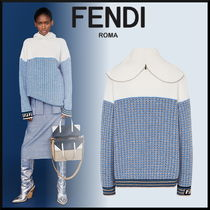 FENDI Other Check Patterns Wool Rib Long Sleeves Long