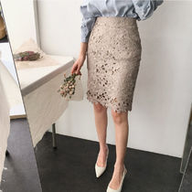 Pencil Skirts Flower Patterns Medium Midi Lace Elegant Style