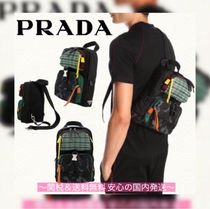PRADA Camouflage Unisex Leather Backpacks