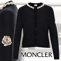 MONCLER Casual Style Cashmere Long Sleeves Plain Medium With Jewels