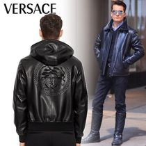 VERSACE Short Street Style Plain Leather Biker Jackets