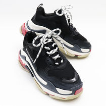 BALENCIAGA Triple S Round Toe Rubber Sole Casual Style Unisex Street Style