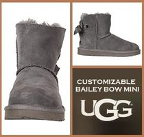 UGG Australia MINI BAILEY BOW Round Toe Rubber Sole Casual Style Suede Plain Boots Boots