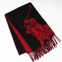 POLO RALPH LAUREN Wool Plain Fringes Bold Scarves