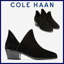 Cole Haan Plain Toe Suede Plain Block Heels Ankle & Booties Boots