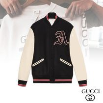 GUCCI Short Wool Street Style Bi-color Varsity Jackets