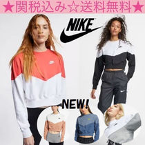 Nike Crew Neck Short Bi-color Long Sleeves Cotton Cropped