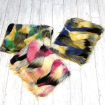 Camouflage Casual Style Faux Fur A4 Fringes Clutches