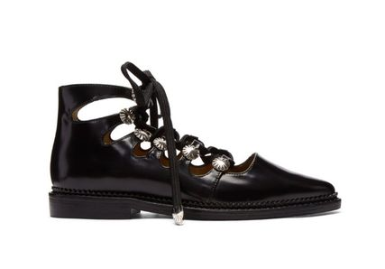 Star Plain Toe Lace-up Casual Style Studded Leather
