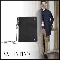 VALENTINO Camouflage Nylon Studded Chain Plain Folding Wallets