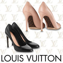 Louis Vuitton Monogram Plain Toe Plain Leather Pin Heels Elegant Style