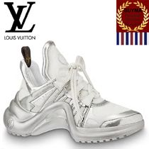 Louis Vuitton Rubber Sole Lace-up Casual Style Street Style Plain Leather