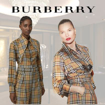 Burberry Other Check Patterns Silk Long Sleeves Shirts & Blouses