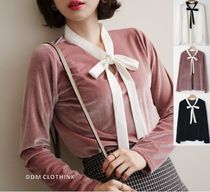 Bi-color Long Sleeves Medium Office Style Shirts & Blouses