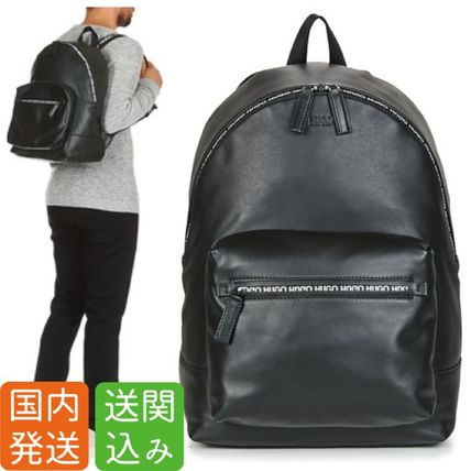 Unisex Street Style A4 Plain Backpacks