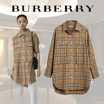 Burberry Other Check Patterns Long Sleeves Cotton Shirts & Blouses