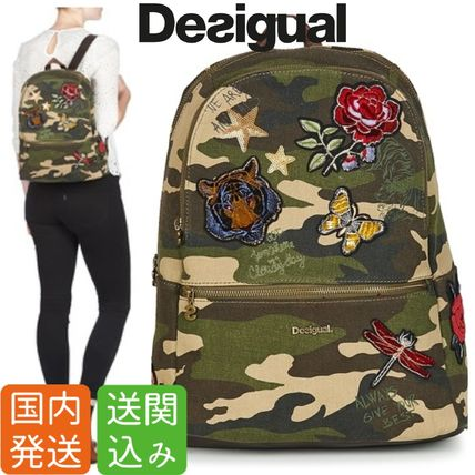 Flower Patterns Camouflage Street Style Backpacks