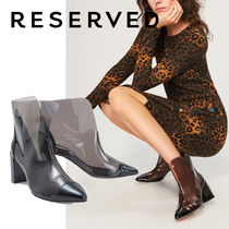 RESERVED Casual Style Enamel Plain Block Heels Ankle & Booties Boots