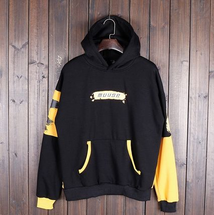 Hoodies Pullovers Street Style Bi-color Long Sleeves Cotton 11