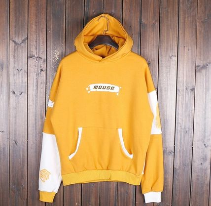 Hoodies Pullovers Street Style Bi-color Long Sleeves Cotton 13